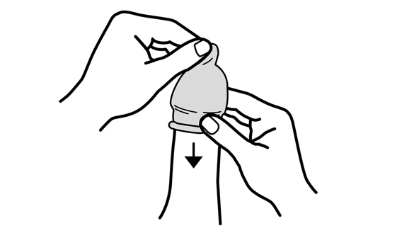 Darstellung zur Kondomverwendung - Schritt 4: Kondom abrollen Bild 1